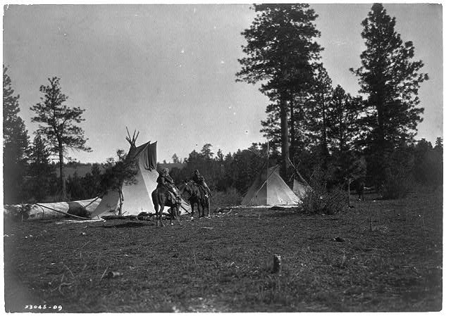 Camp of the Root Diggers--Yakima by photographer Edward S. Curtis