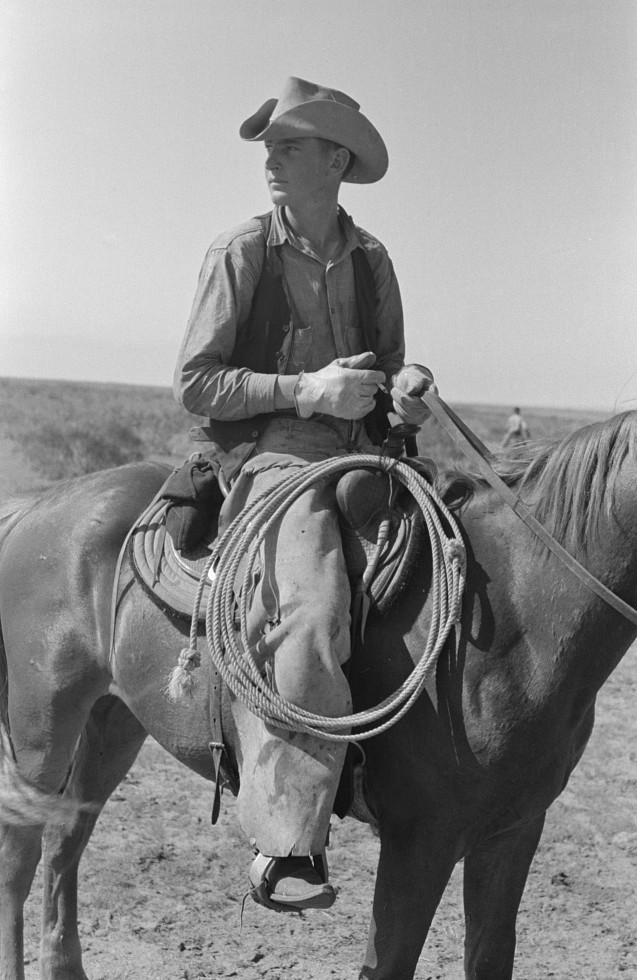 Cowboy on horse with equipment on cattle ranch near Spur, Texas by photographer Russell Lee May 1939