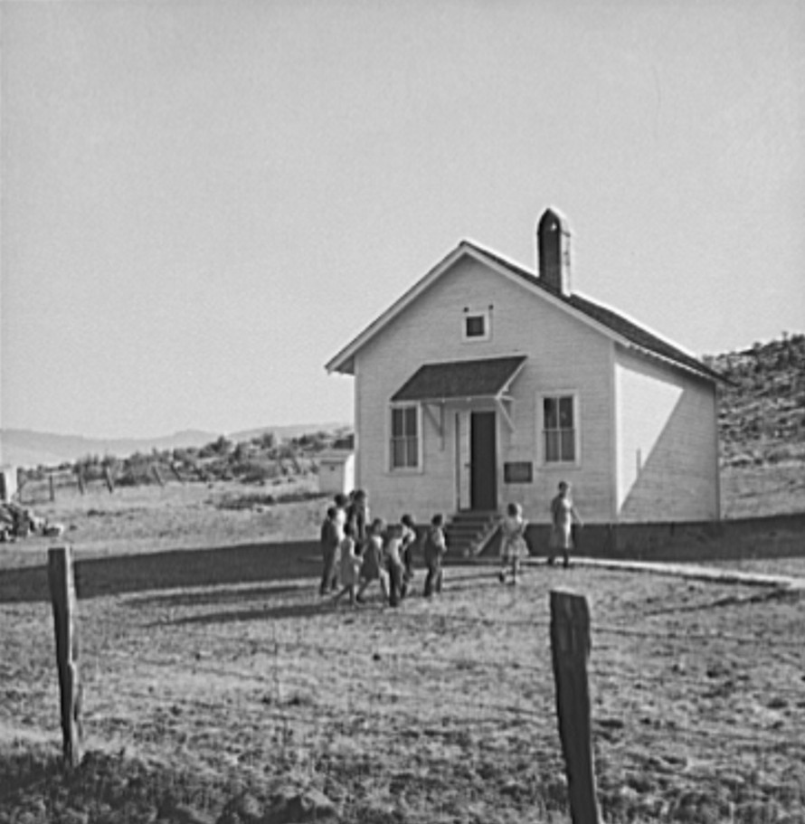 School attended by children of members of Ola self-help sawmill co-op. Gem County, Idaho.