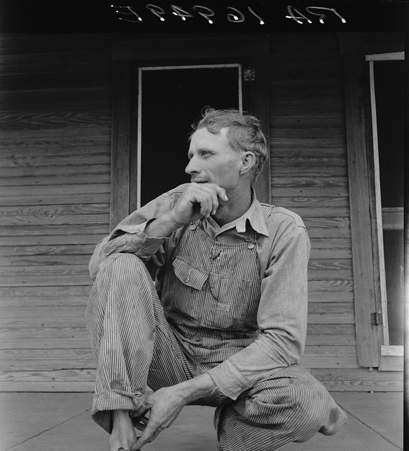 Tractor driver on cotton farm near Memphis, Texas by Photographer Dorothea Lange June 1937