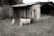 Every farmhouse had a rain barrel  in the old days.