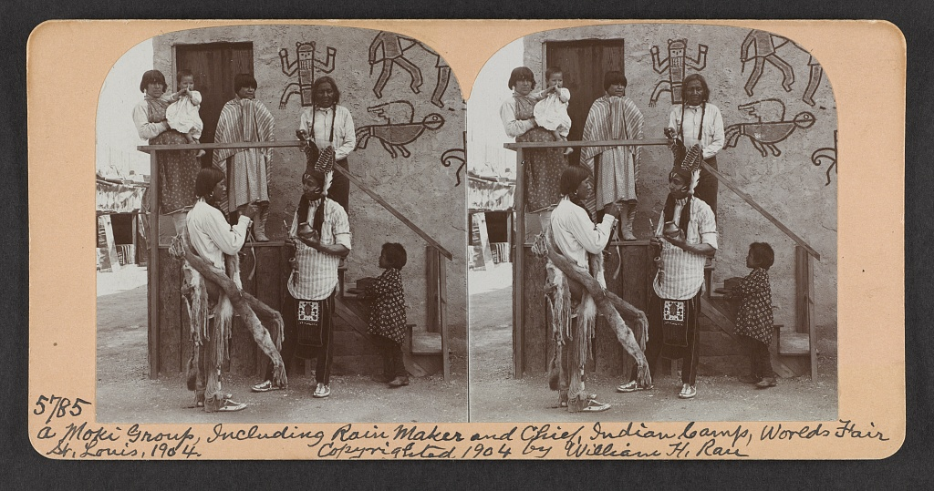 A Moki group, including rain maker and chief, Indian camp, World's Fair, St. Louis, 1904