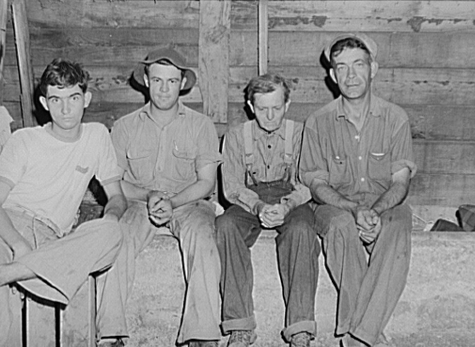 About twelve single men, migrant fruit workers, live in this old barn on property of Berrien County, Michigan, fruit grower 1940