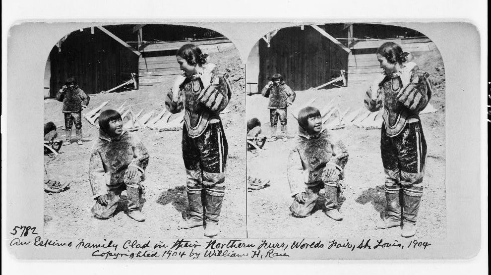 An Eskimo family clad in their northern furs, World's Fair, St. Louis