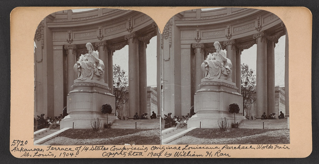 Arkansas, terrace of 14 states comprising original Louisiana Purchase World's Fair, St. Louis, 1904
