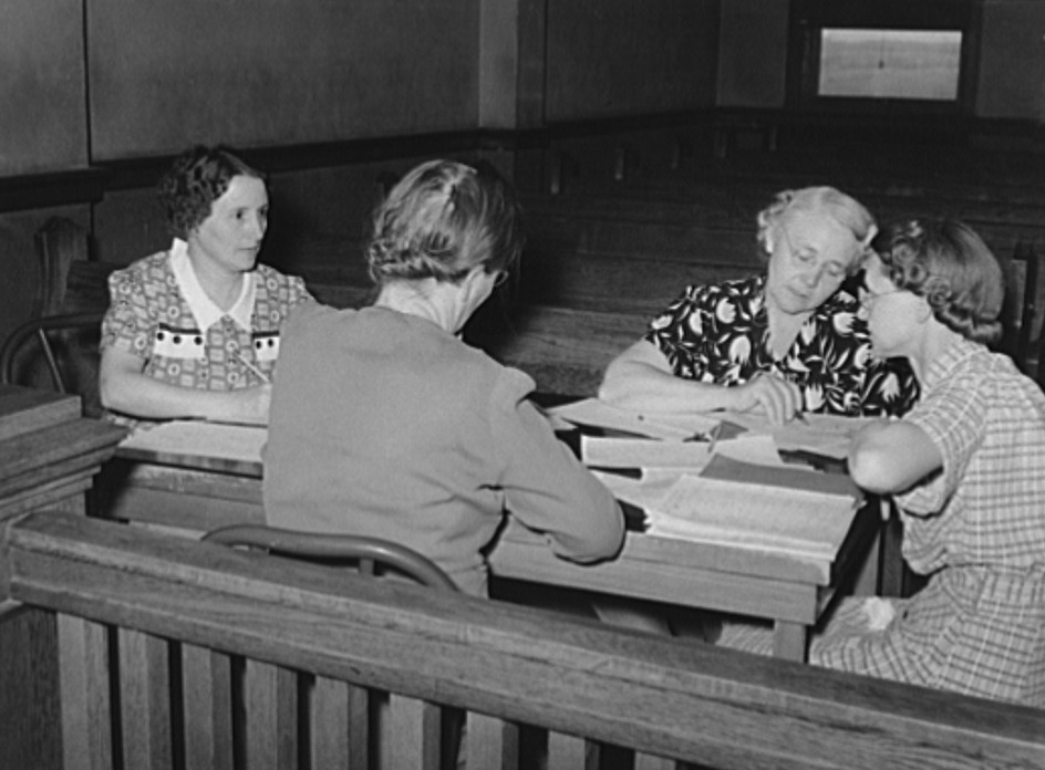 Conference of wives of FSA (Farm Security Administration) clients with home supervisor. Sheridan County, Kansas russell lee 1939