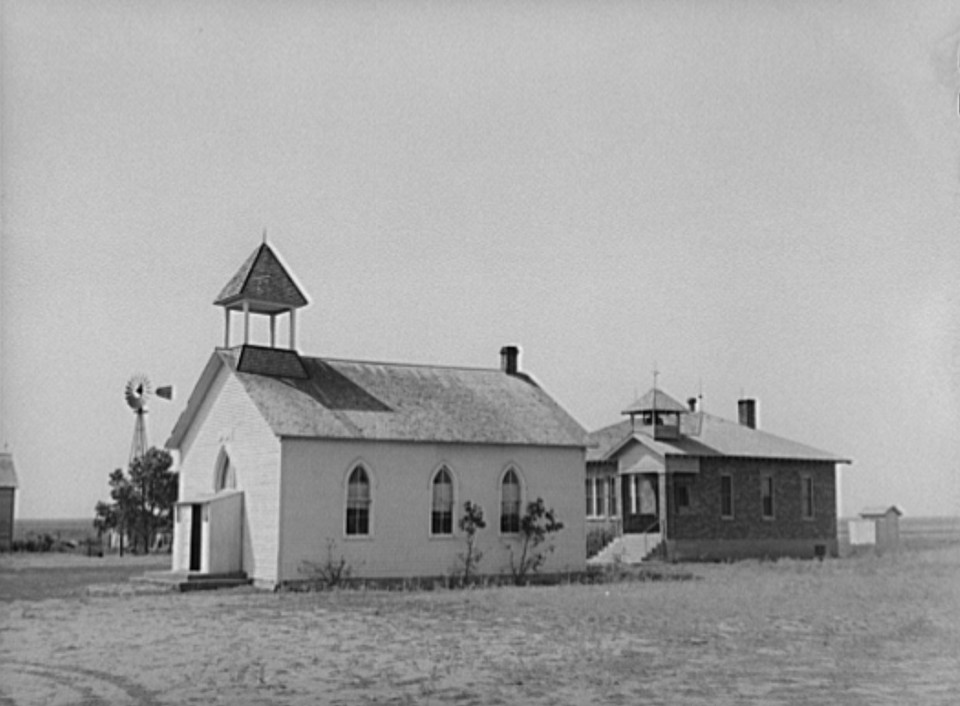 County school and church. Sheridan County, Kansas August 1939