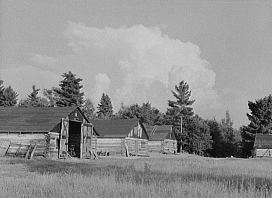 Deserted lumber camp. Ontonagon County, Michigan by photographer John Vachon Aug. 1941