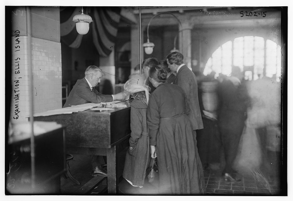 Exam, Ellis Island, ca. 1909 Bain News Service