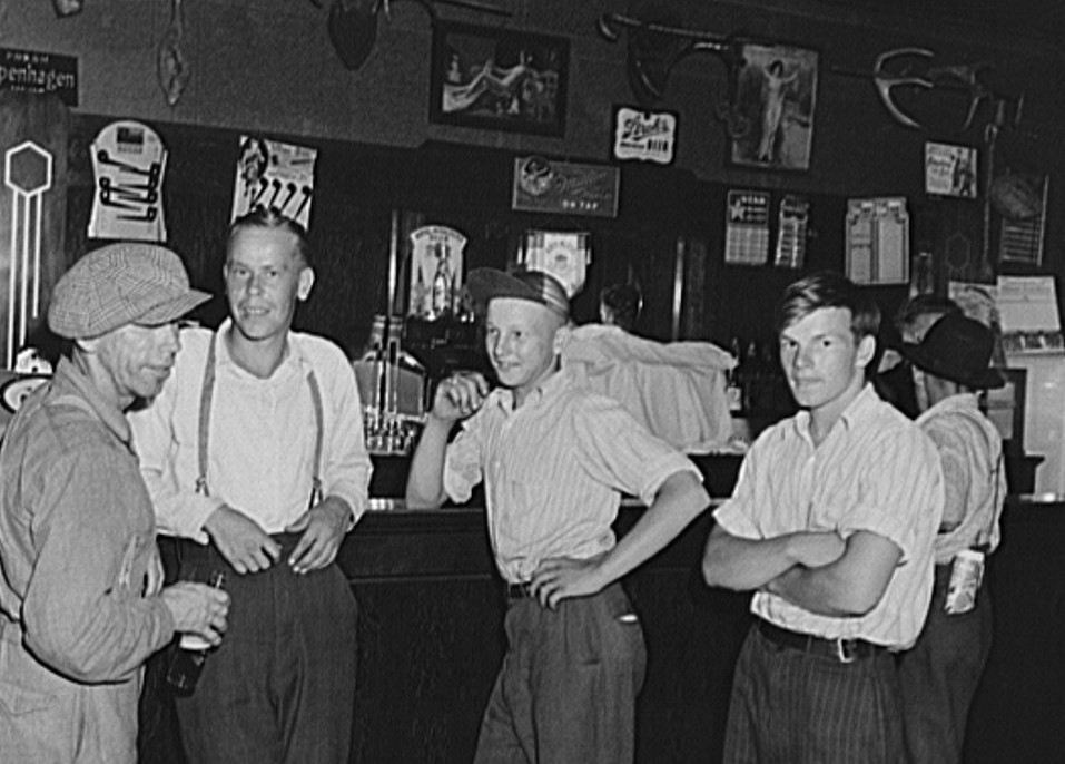 Farm boys in beer parlor on Sunday afternoon. Finnish community of Bruce Crossing, Michigan John Vachon 1941