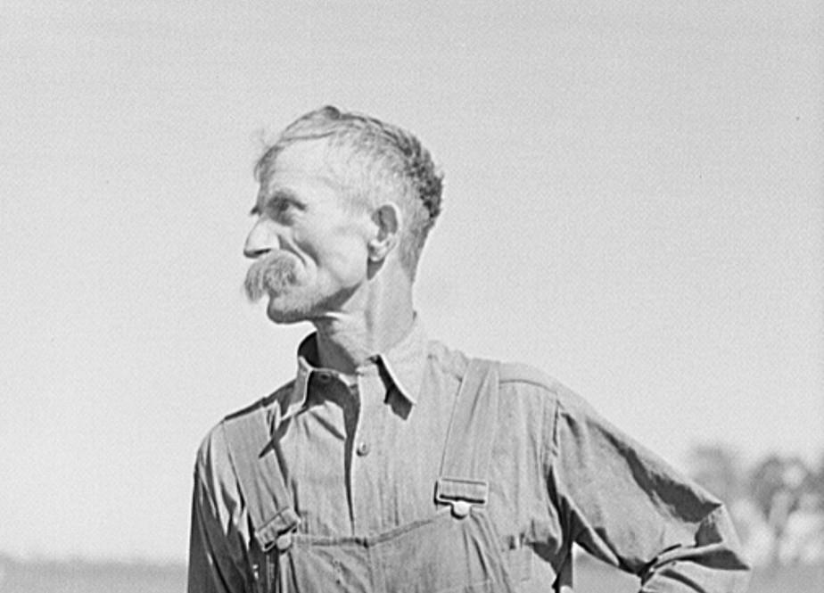 Farmer. Isabella County, Michigan 1941 by photographer John Vachon