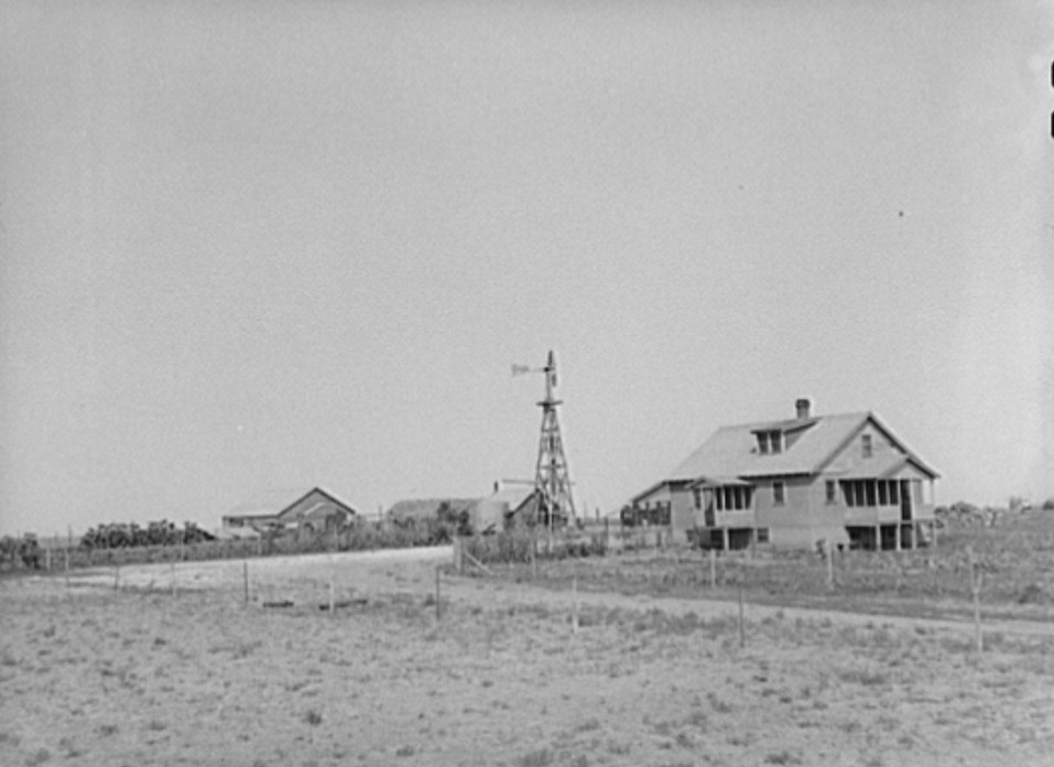 Farmstead of William Rall, FSA (Farm Security Administration) client, in Sheridan County, Kansas russell lee 1939