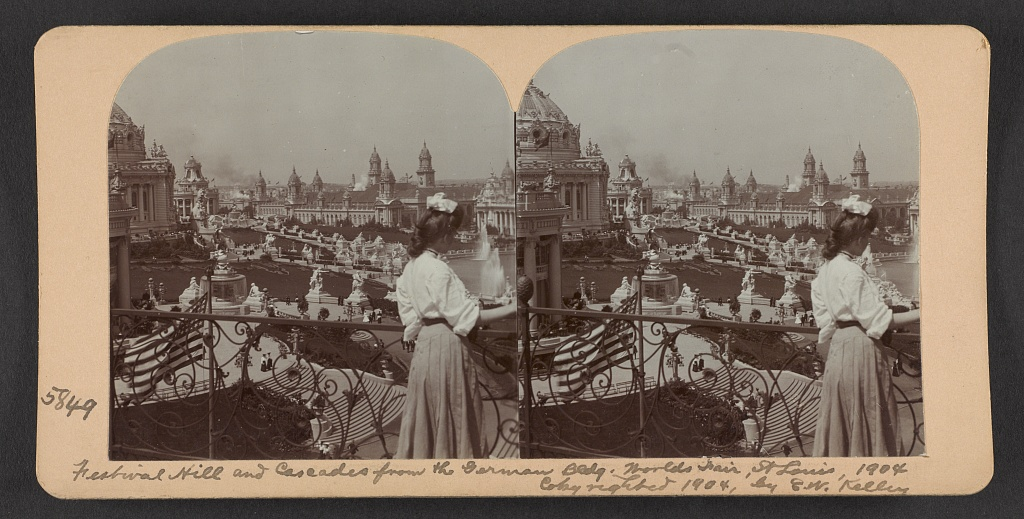 Festival Hill and cascades from the German Bldg., World's Fair, St. Louis, 1904