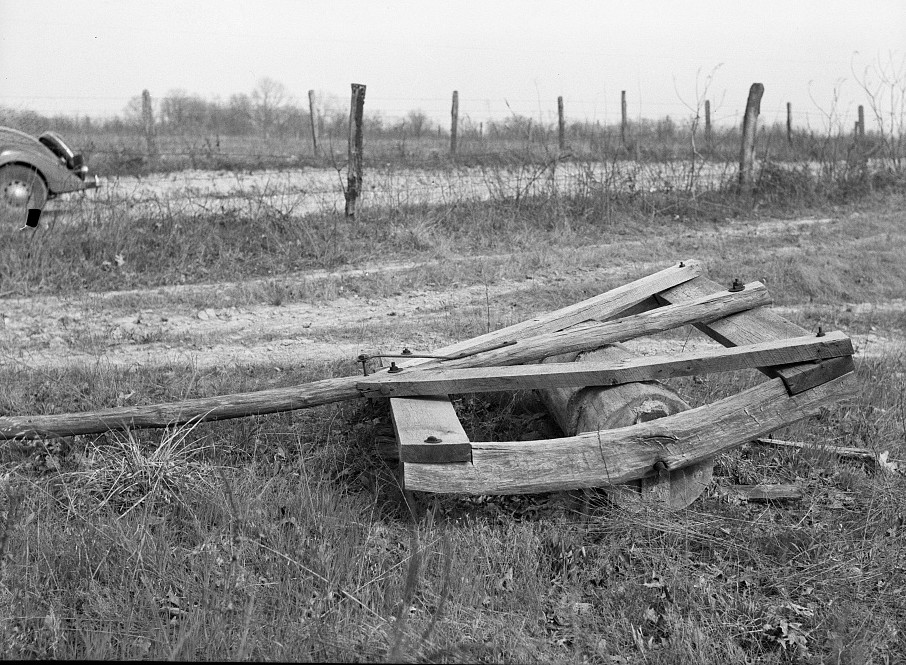 Handmade roller at farm. Cuivre River recreational demonstration project near Troy, Missouri by photographer Carl Mydans May 1936