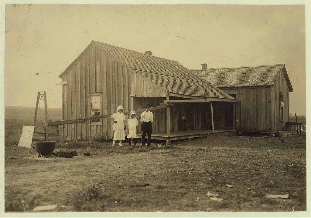 Lewis Wicke hine nov.1913 - A dilapidated renters home near West. The Tripp farm. Five in the family. Girl apparently fifteen years old is married.