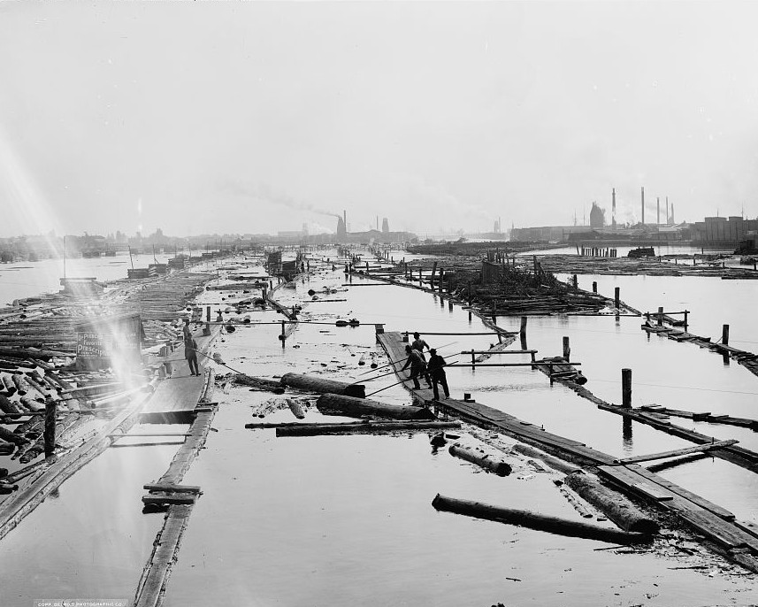 Logging on the river, Menominee, Mich. Detroit Publishing ca. 1898