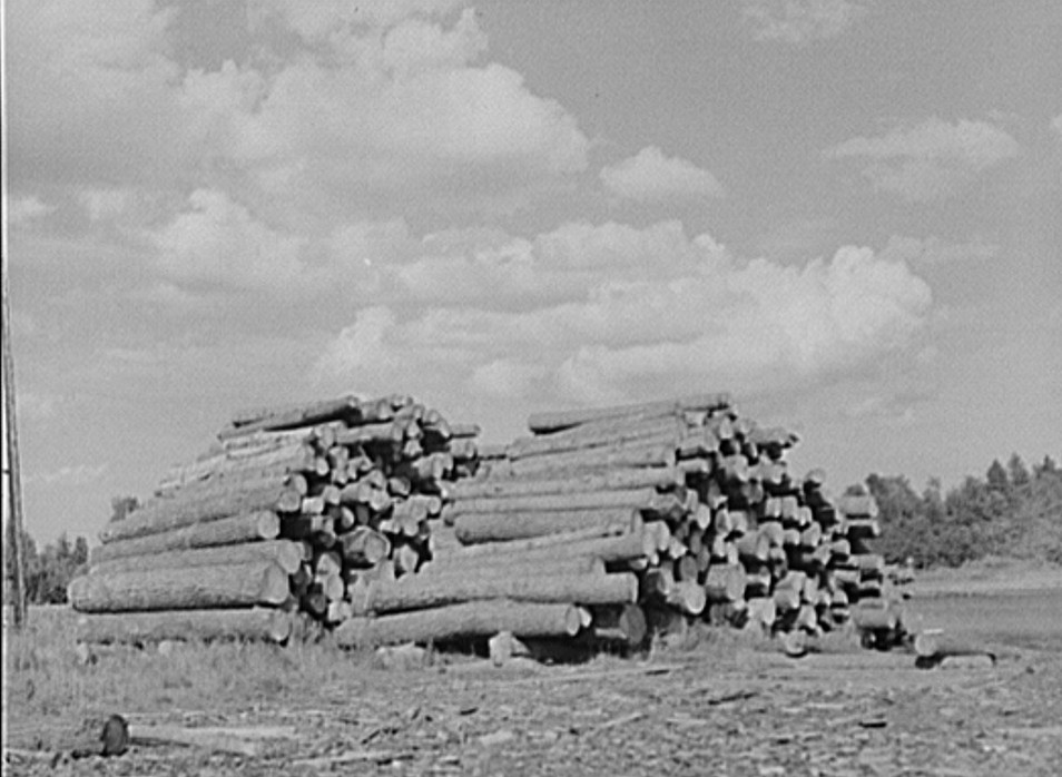Logs at lumber mill. Trout Creek, Michigan by John Vachon, 1941