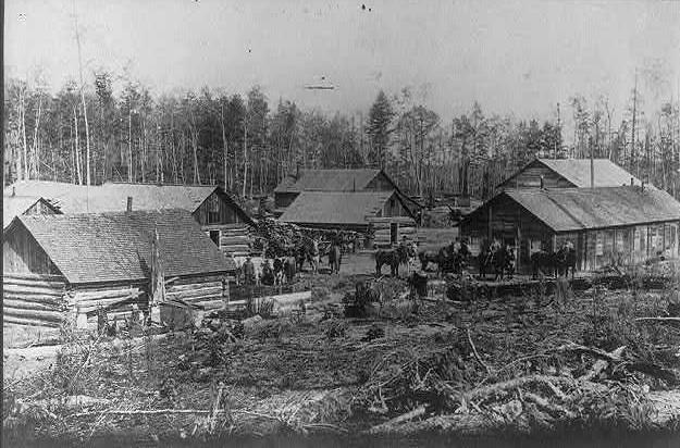 Lumbering camp in Michigan 1892
