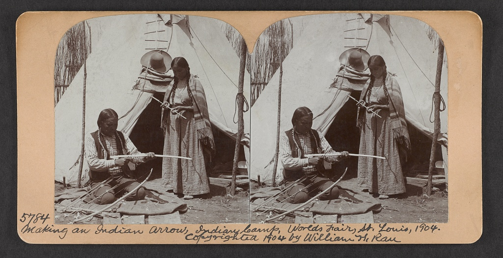 Making an Indian arrow, Indian camp, World's Fair, St. Louis, 1904