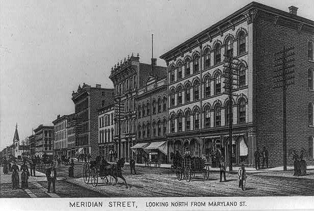 Meridian Street, looking north from Maryland St., Indianapolis, Indiana ca. 1888