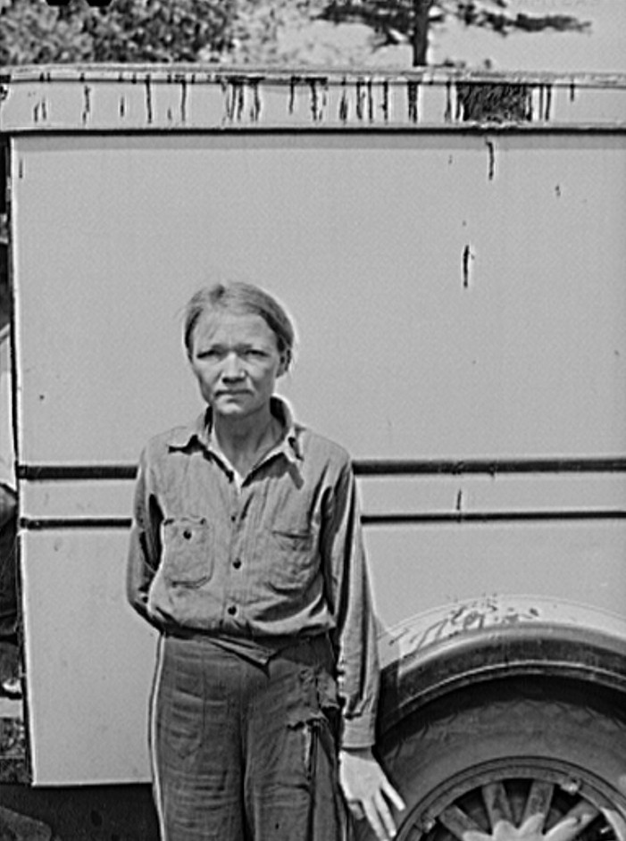 Migrant woman from Arkansas in cherry pickers camp. Berrien County, Michigan 1940