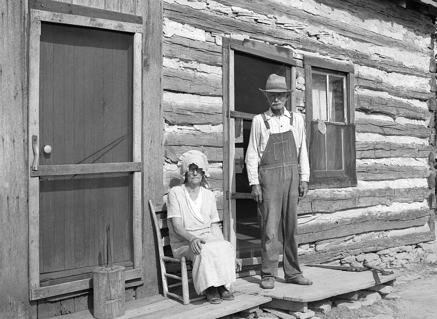 Nick Phillips, 81 years old with wife in front of house. Ashland, Mo. Mo game and arboretum Columbia, Mo carl mydans 1936