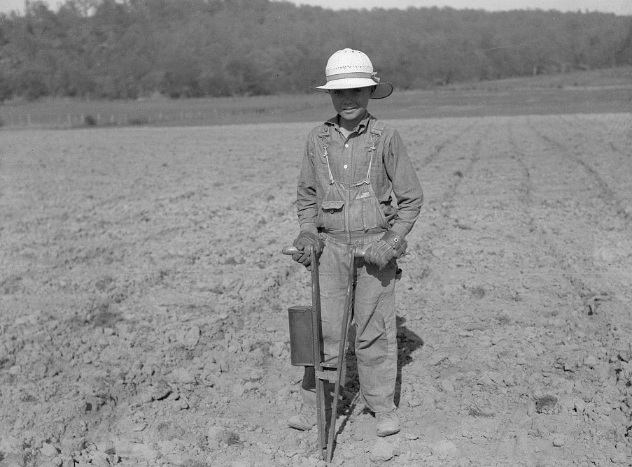 Planting corn with hand corn planter in Meremac Forest project area. Salem, Missouri by Carl Mydans May 1936