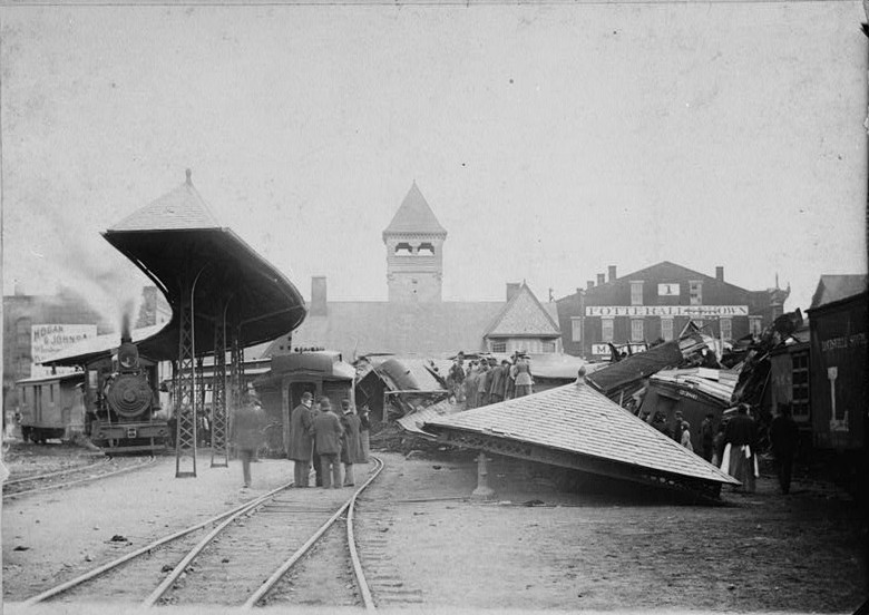 Print from copy negative Original photo dated May 7, 1893.. - Big Four Depot, 10 South Second Street, Lafayette, Tippecanoe County, IN
