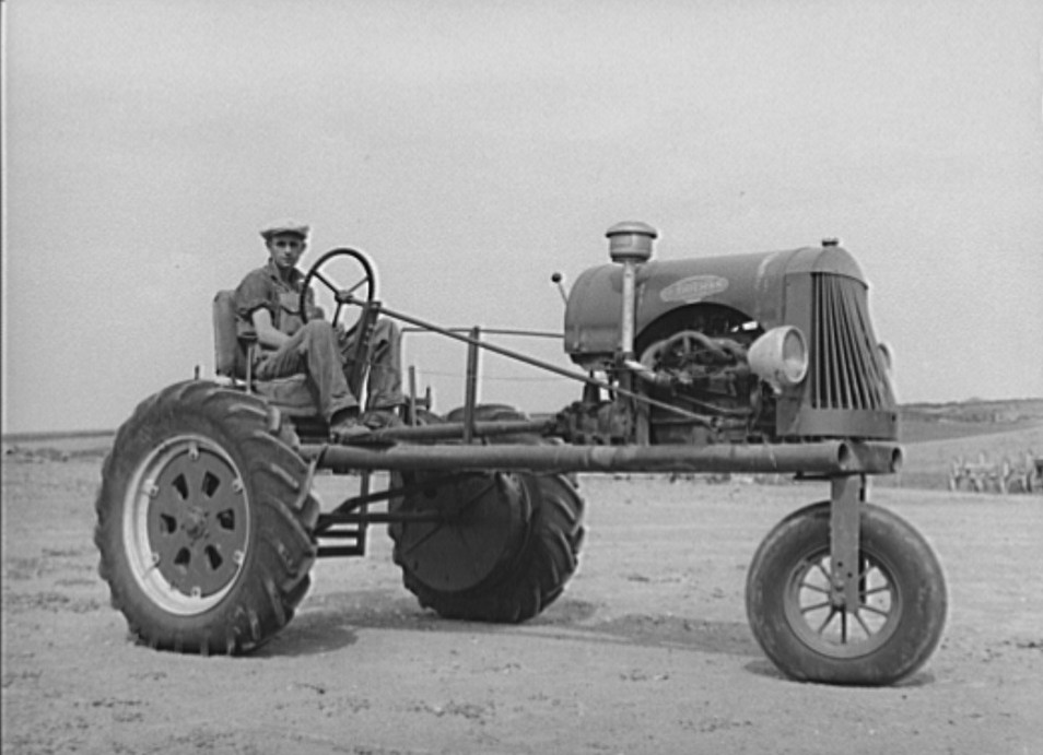Tractor bought by FSA (Farm Security Administration) loan to German-Russian family in Sheridan County, Kansas. Mr. Schoenfeldt russell lee 1939