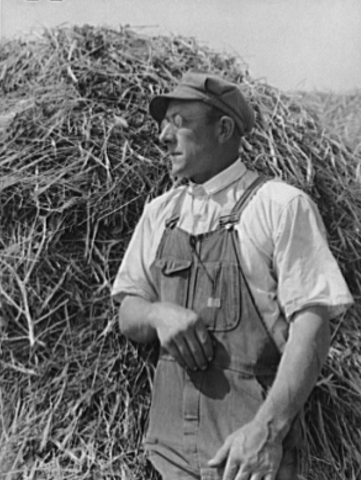 William Rall, FSA (Farm Security Administration) client, against background of feed of which he has plenty for the coming winter. Sheridan County, Kansas russell lee 1939