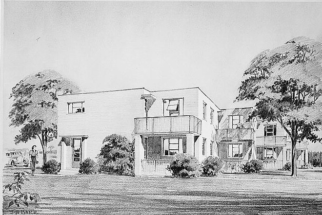 Architect's sketch of housing for Greenhills, Ohio 1936