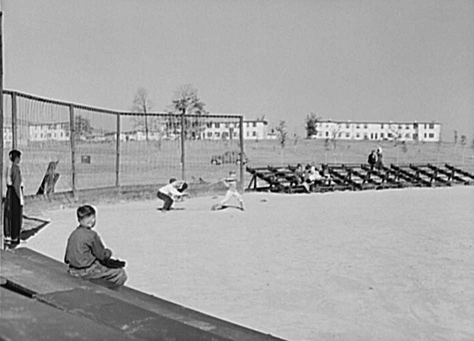 Baseball game at Greenhills, Ohio October 1939 by photographer John Vachon