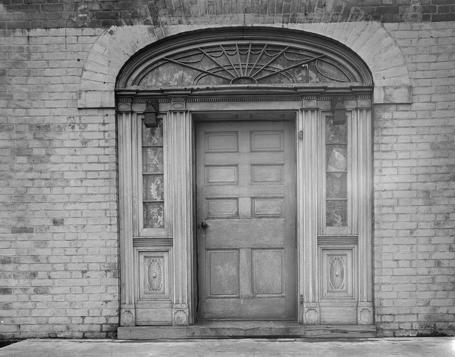 Door of 100-year-old Marguard house at Greenhills project, Ohio by photographer Theodor Jung March 1936