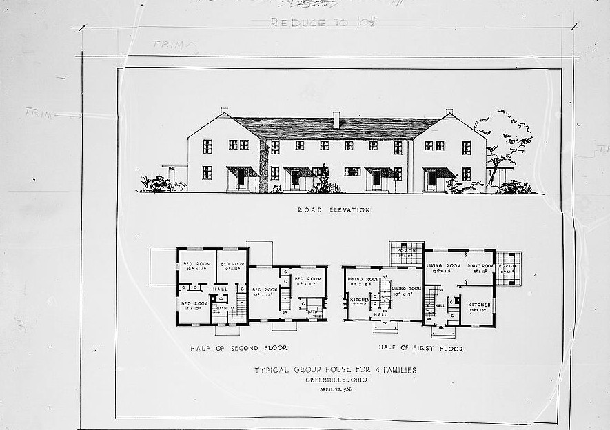 Drawing and plan for four-family house. Greenhills, Ohio 1936