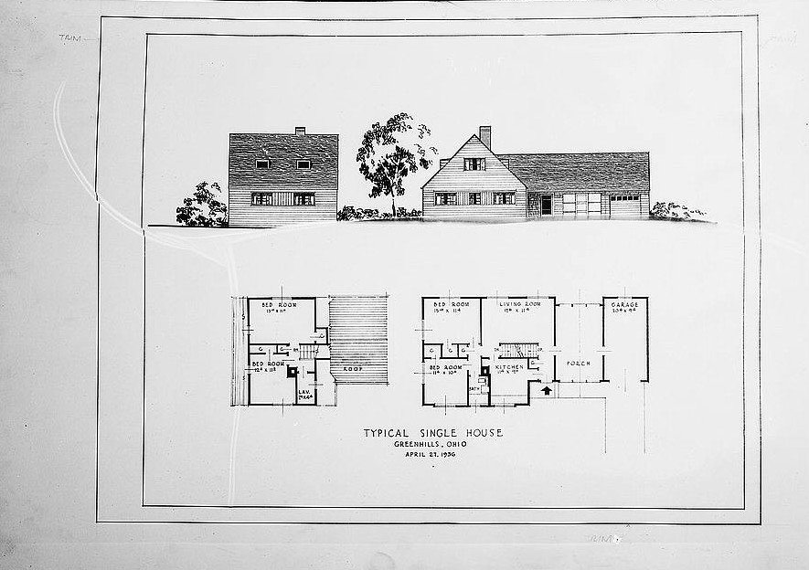 Drawing and plan of single house. Greenhills, Ohio 1936