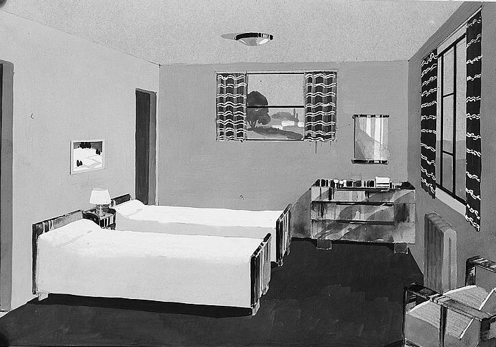 Drawing of bedroom. Greenhills, Ohio 1936