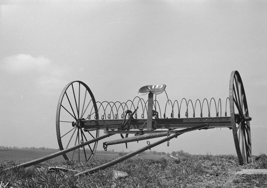Hayrake on farm near the Greenhills Project, Cincinnati, Ohio photograph by Theodor Jung April 1936