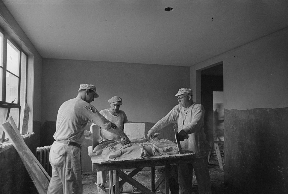 Mixing wall plaster for a Greenhills, Ohio, house 1937