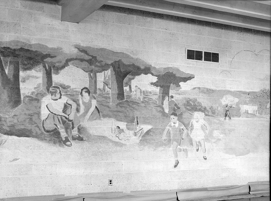 Mural in Greenhills, Ohio, community building Oct 1938, by John Vachon