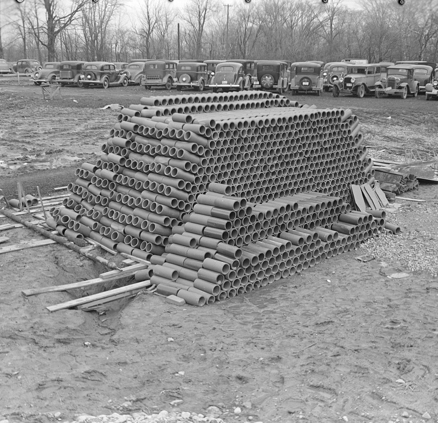 Pile of soil pipe. Greenhills, Ohio feb. 1937 russell lee