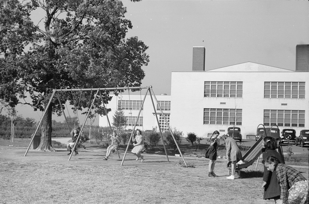 Schoolgrounds, Greenhills, Ohio October 1939 by photographer John Vachon