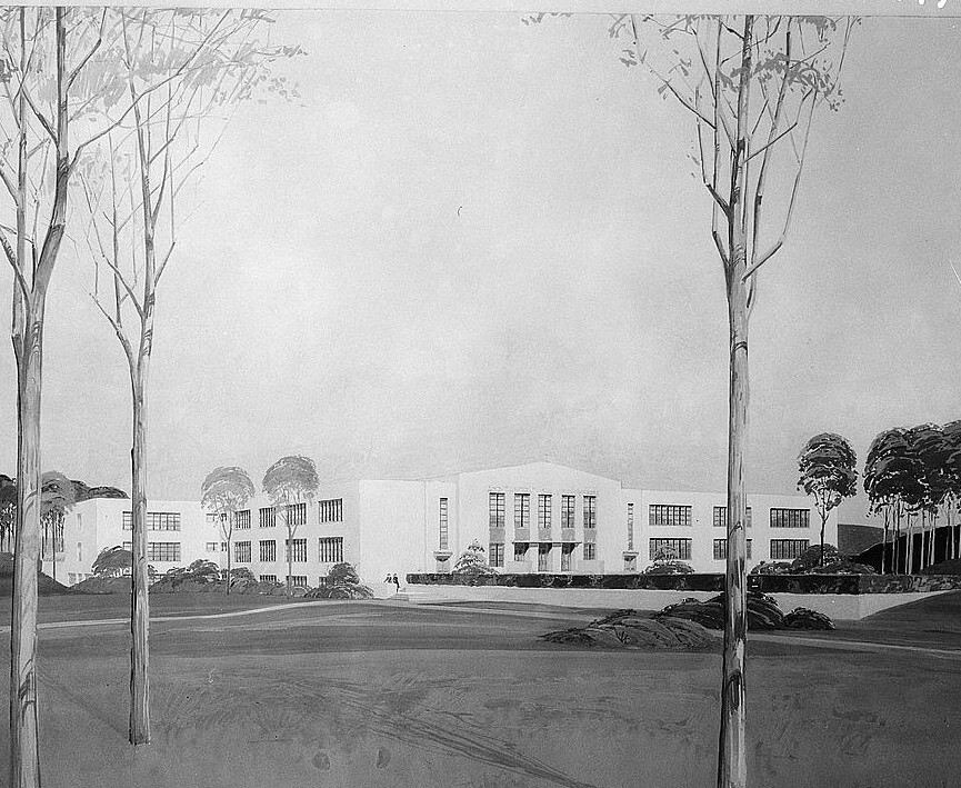 Sketch of Greenhills, Ohio, school 1936