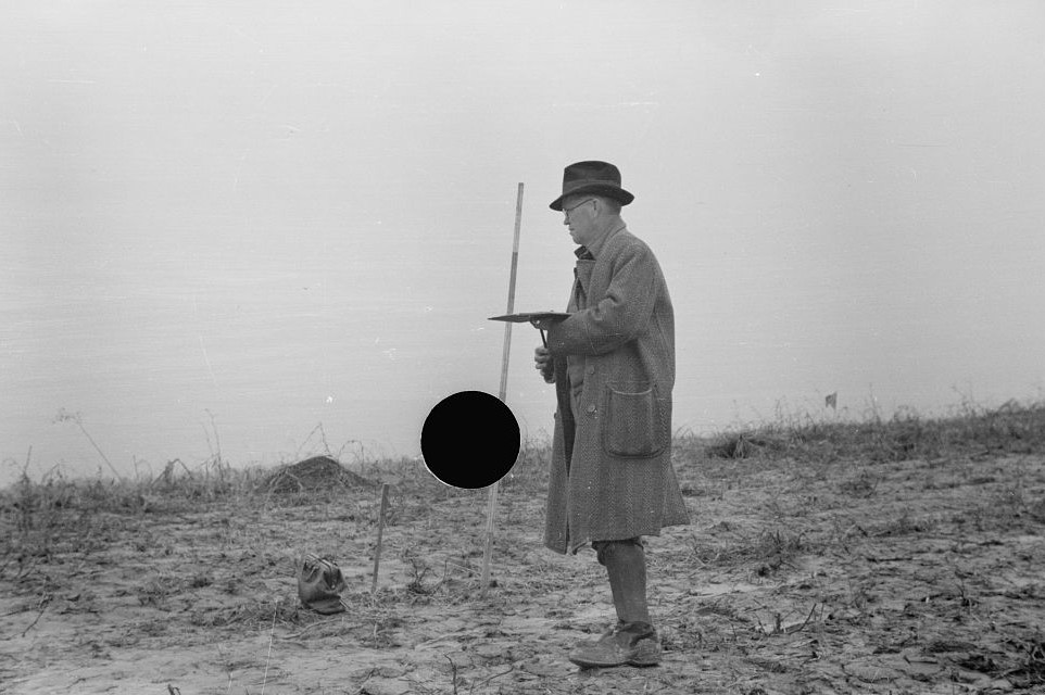 Surveying at the Greenhills Project, Cincinnati, Ohio by photographer Theodor Jung April 19363