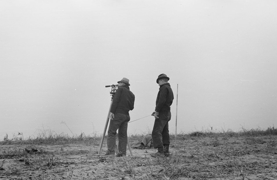 Surveying at the Greenhills Project, Cincinnati, Ohio by photographer Theodor Jung April 19364