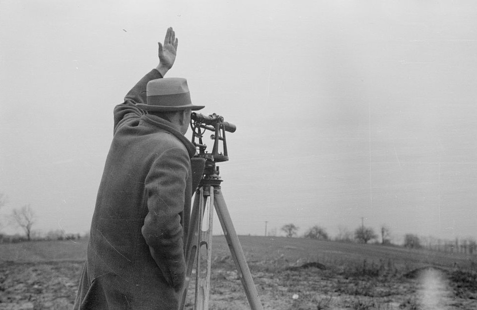 Surveying at the Greenhills Project, Cincinnati, Ohio by photographer Theodor Jung April 19365