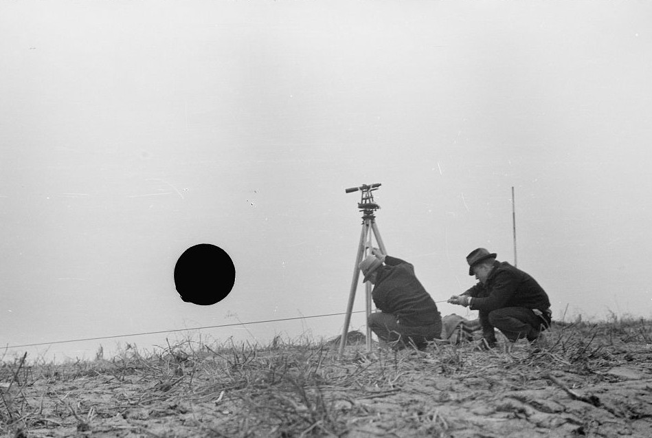 Surveying at the Greenhills Project, Cincinnati, Ohio by photographer Theodor Jung April 19366