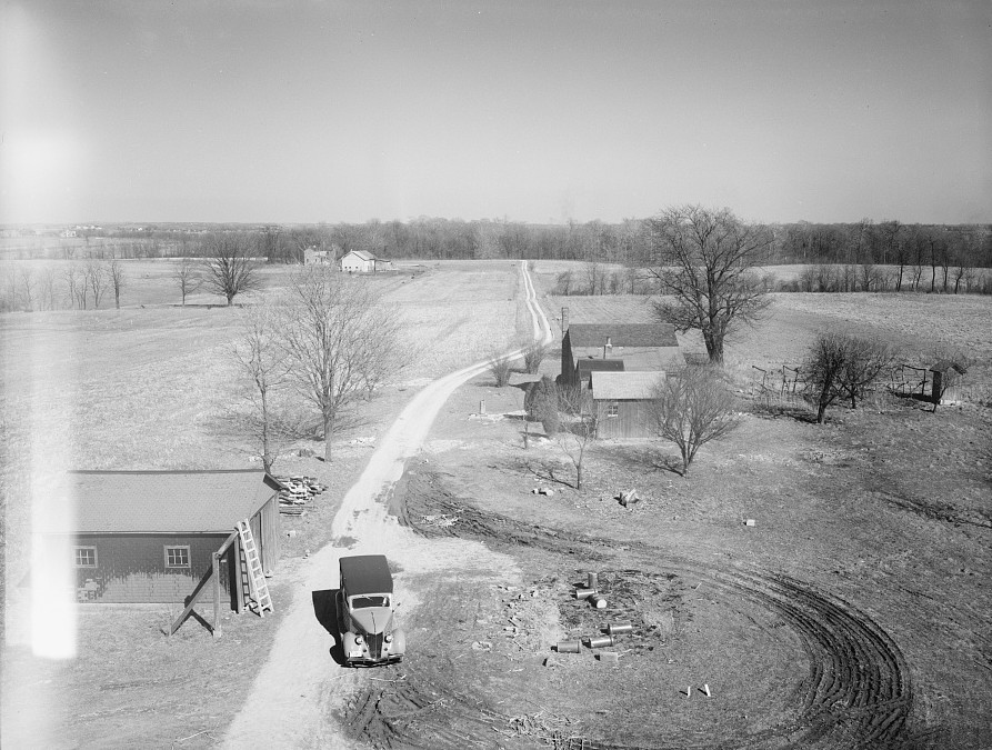 View from top of barn. Greenhills, Ohio (Proposed site of houses in background) 1936