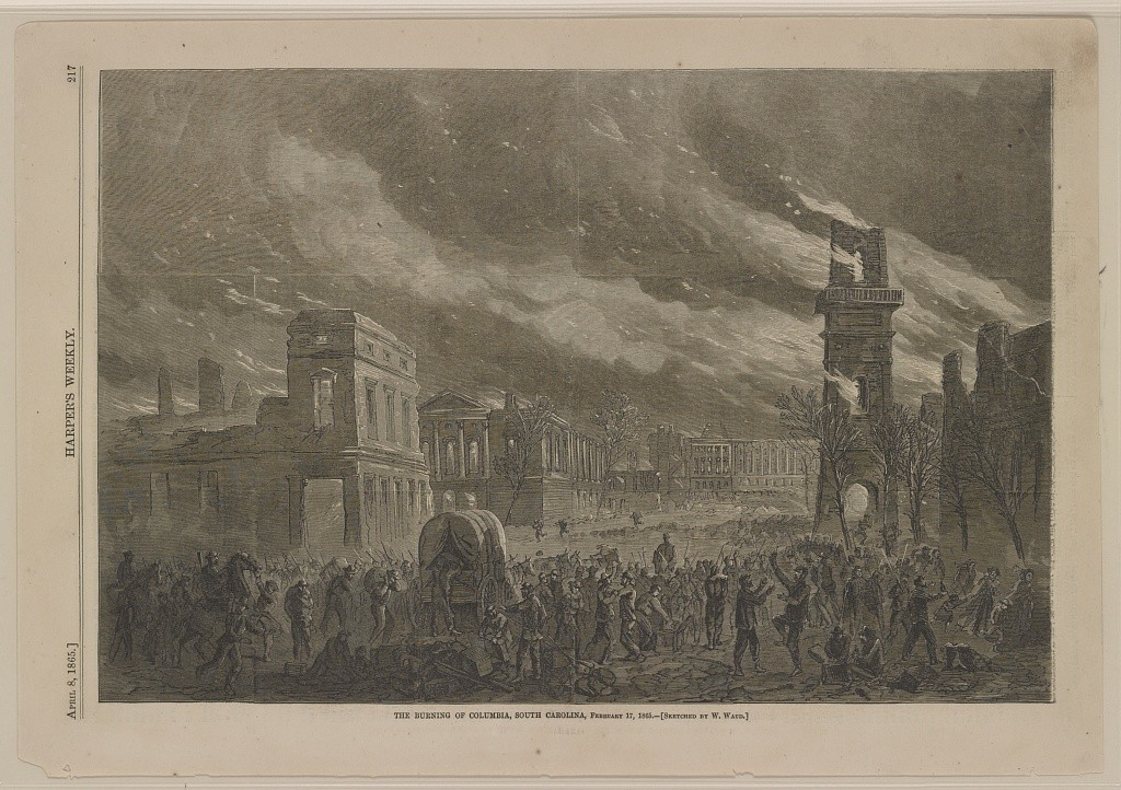 Columbia South Carolina - burning feb. 17, 1865