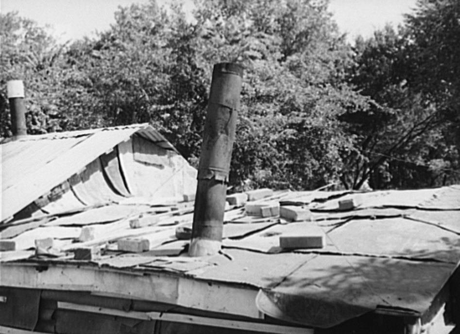 Detail of roof of shack in community camp. Oklahoma City, Oklahoma