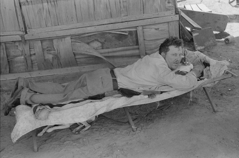 Partially-paralyzed man in May's Avenue camp, Oklahoma City, Oklahoma July 1939